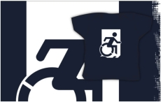 Accessible Exit Sign Project Wheelchair Wheelie Running Man Symbol Means of Egress Icon Disability Emergency Evacuation Fire Safety Kids T-shirts 19