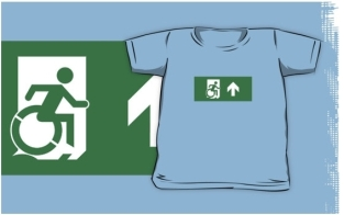 Accessible Exit Sign Project Wheelchair Wheelie Running Man Symbol Means of Egress Icon Disability Emergency Evacuation Fire Safety Kids T-shirts 2