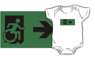Accessible Exit Sign Project Wheelchair Wheelie Running Man Symbol Means of Egress Icon Disability Emergency Evacuation Fire Safety Kids T-shirts 20