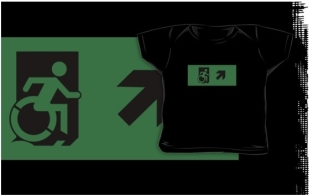 Accessible Exit Sign Project Wheelchair Wheelie Running Man Symbol Means of Egress Icon Disability Emergency Evacuation Fire Safety Kids T-shirts 21
