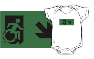 Accessible Exit Sign Project Wheelchair Wheelie Running Man Symbol Means of Egress Icon Disability Emergency Evacuation Fire Safety Kids T-shirts 22