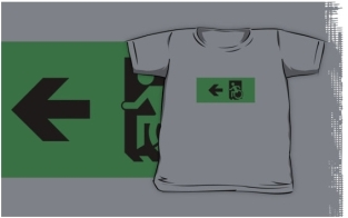 Accessible Exit Sign Project Wheelchair Wheelie Running Man Symbol Means of Egress Icon Disability Emergency Evacuation Fire Safety Kids T-shirts 25