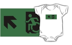 Accessible Exit Sign Project Wheelchair Wheelie Running Man Symbol Means of Egress Icon Disability Emergency Evacuation Fire Safety Kids T-shirts 26