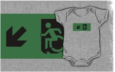 Accessible Exit Sign Project Wheelchair Wheelie Running Man Symbol Means of Egress Icon Disability Emergency Evacuation Fire Safety Kids T-shirts 27