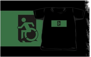 Accessible Exit Sign Project Wheelchair Wheelie Running Man Symbol Means of Egress Icon Disability Emergency Evacuation Fire Safety Kids T-shirts 29