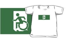Accessible Exit Sign Project Wheelchair Wheelie Running Man Symbol Means of Egress Icon Disability Emergency Evacuation Fire Safety Kids T-shirts 30
