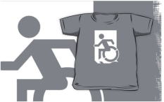 Accessible Exit Sign Project Wheelchair Wheelie Running Man Symbol Means of Egress Icon Disability Emergency Evacuation Fire Safety Kids T-shirts 31