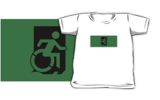 Accessible Exit Sign Project Wheelchair Wheelie Running Man Symbol Means of Egress Icon Disability Emergency Evacuation Fire Safety Kids T-shirts 32
