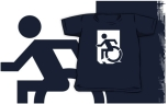 Accessible Exit Sign Project Wheelchair Wheelie Running Man Symbol Means of Egress Icon Disability Emergency Evacuation Fire Safety Kids T-shirts 34