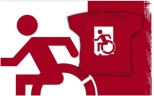 Accessible Exit Sign Project Wheelchair Wheelie Running Man Symbol Means of Egress Icon Disability Emergency Evacuation Fire Safety Kids T-shirts 38