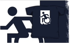 Accessible Exit Sign Project Wheelchair Wheelie Running Man Symbol Means of Egress Icon Disability Emergency Evacuation Fire Safety Kids T-shirts 42