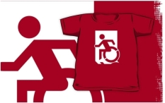 Accessible Exit Sign Project Wheelchair Wheelie Running Man Symbol Means of Egress Icon Disability Emergency Evacuation Fire Safety Kids T-shirts 44