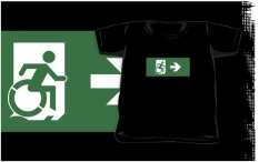 Accessible Exit Sign Project Wheelchair Wheelie Running Man Symbol Means of Egress Icon Disability Emergency Evacuation Fire Safety Kids T-shirts 47