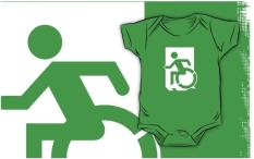 Accessible Exit Sign Project Wheelchair Wheelie Running Man Symbol Means of Egress Icon Disability Emergency Evacuation Fire Safety Kids T-shirts 48