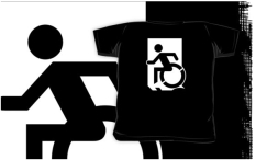 Accessible Exit Sign Project Wheelchair Wheelie Running Man Symbol Means of Egress Icon Disability Emergency Evacuation Fire Safety Kids T-shirts 50