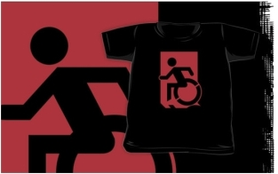 Accessible Exit Sign Project Wheelchair Wheelie Running Man Symbol Means of Egress Icon Disability Emergency Evacuation Fire Safety Kids T-shirts 58