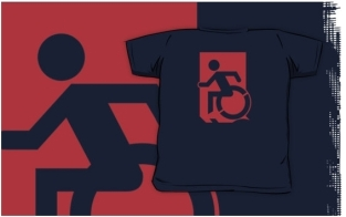 Accessible Exit Sign Project Wheelchair Wheelie Running Man Symbol Means of Egress Icon Disability Emergency Evacuation Fire Safety Kids T-shirts 60