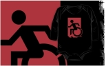 Accessible Exit Sign Project Wheelchair Wheelie Running Man Symbol Means of Egress Icon Disability Emergency Evacuation Fire Safety Kids T-shirts 62