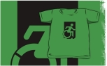 Accessible Exit Sign Project Wheelchair Wheelie Running Man Symbol Means of Egress Icon Disability Emergency Evacuation Fire Safety Kids T-shirts 66