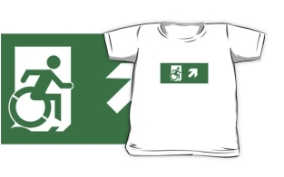 Accessible Exit Sign Project Wheelchair Wheelie Running Man Symbol Means of Egress Icon Disability Emergency Evacuation Fire Safety Kids T-shirts 67