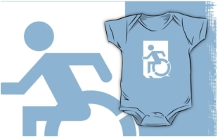 Accessible Exit Sign Project Wheelchair Wheelie Running Man Symbol Means of Egress Icon Disability Emergency Evacuation Fire Safety Kids T-shirts 68