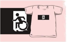 Accessible Exit Sign Project Wheelchair Wheelie Running Man Symbol Means of Egress Icon Disability Emergency Evacuation Fire Safety Kids T-shirts 74