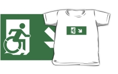 Accessible Exit Sign Project Wheelchair Wheelie Running Man Symbol Means of Egress Icon Disability Emergency Evacuation Fire Safety Kids T-shirts 80