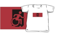 Accessible Exit Sign Project Wheelchair Wheelie Running Man Symbol Means of Egress Icon Disability Emergency Evacuation Fire Safety Kids T-shirts 9