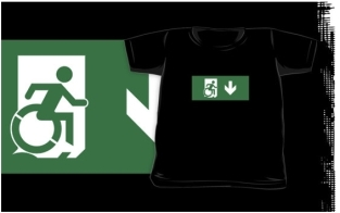 Accessible Exit Sign Project Wheelchair Wheelie Running Man Symbol Means of Egress Icon Disability Emergency Evacuation Fire Safety Kids T-shirts 93