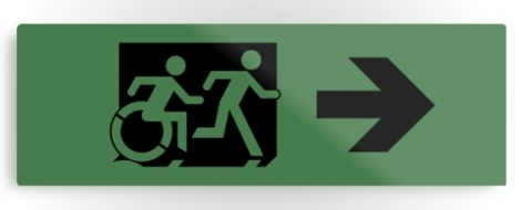 Accessible Exit Sign Project Wheelchair Wheelie Running Man Symbol Means of Egress Icon Disability Emergency Evacuation Fire Safety Metal Printed 100