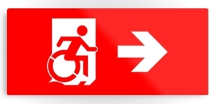 Accessible Exit Sign Project Wheelchair Wheelie Running Man Symbol Means of Egress Icon Disability Emergency Evacuation Fire Safety Metal Printed 10