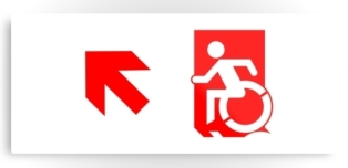 Accessible Exit Sign Project Wheelchair Wheelie Running Man Symbol Means of Egress Icon Disability Emergency Evacuation Fire Safety Metal Printed 101