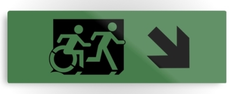 Accessible Exit Sign Project Wheelchair Wheelie Running Man Symbol Means of Egress Icon Disability Emergency Evacuation Fire Safety Metal Printed 102