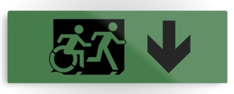 Accessible Exit Sign Project Wheelchair Wheelie Running Man Symbol Means of Egress Icon Disability Emergency Evacuation Fire Safety Metal Printed 103