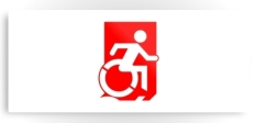 Accessible Exit Sign Project Wheelchair Wheelie Running Man Symbol Means of Egress Icon Disability Emergency Evacuation Fire Safety Metal Printed 104