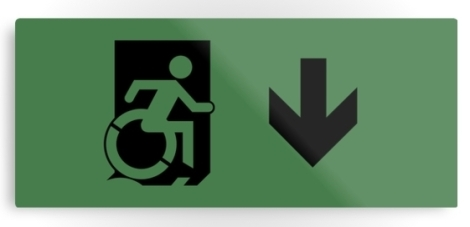 Accessible Exit Sign Project Wheelchair Wheelie Running Man Symbol Means of Egress Icon Disability Emergency Evacuation Fire Safety Metal Printed 105