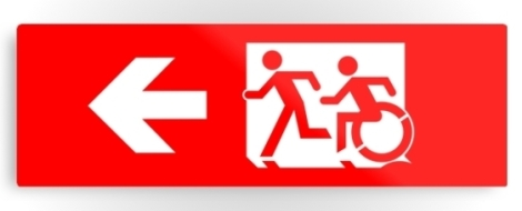 Accessible Exit Sign Project Wheelchair Wheelie Running Man Symbol Means of Egress Icon Disability Emergency Evacuation Fire Safety Metal Printed 106