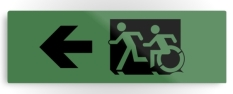 Accessible Exit Sign Project Wheelchair Wheelie Running Man Symbol Means of Egress Icon Disability Emergency Evacuation Fire Safety Metal Printed 107