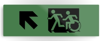 Accessible Exit Sign Project Wheelchair Wheelie Running Man Symbol Means of Egress Icon Disability Emergency Evacuation Fire Safety Metal Printed 108