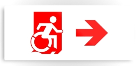 Accessible Exit Sign Project Wheelchair Wheelie Running Man Symbol Means of Egress Icon Disability Emergency Evacuation Fire Safety Metal Printed 109