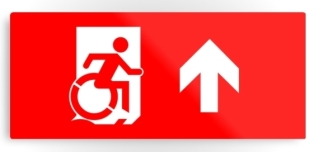 Accessible Exit Sign Project Wheelchair Wheelie Running Man Symbol Means of Egress Icon Disability Emergency Evacuation Fire Safety Metal Printed 11