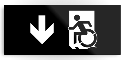 Accessible Exit Sign Project Wheelchair Wheelie Running Man Symbol Means of Egress Icon Disability Emergency Evacuation Fire Safety Metal Printed 111