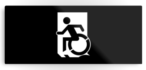 Accessible Exit Sign Project Wheelchair Wheelie Running Man Symbol Means of Egress Icon Disability Emergency Evacuation Fire Safety Metal Printed 112