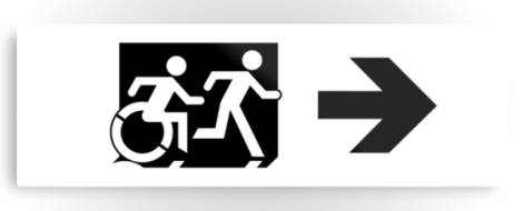 Accessible Exit Sign Project Wheelchair Wheelie Running Man Symbol Means of Egress Icon Disability Emergency Evacuation Fire Safety Metal Printed 113