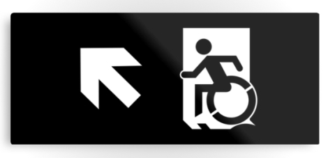 Accessible Exit Sign Project Wheelchair Wheelie Running Man Symbol Means of Egress Icon Disability Emergency Evacuation Fire Safety Metal Printed 114