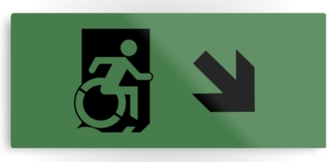Accessible Exit Sign Project Wheelchair Wheelie Running Man Symbol Means of Egress Icon Disability Emergency Evacuation Fire Safety Metal Printed 116