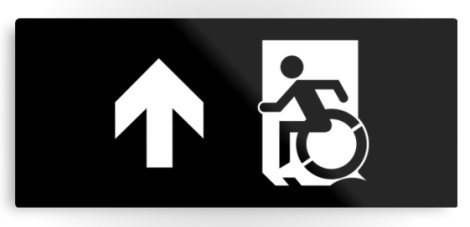 Accessible Exit Sign Project Wheelchair Wheelie Running Man Symbol Means of Egress Icon Disability Emergency Evacuation Fire Safety Metal Printed 117