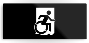 Accessible Exit Sign Project Wheelchair Wheelie Running Man Symbol Means of Egress Icon Disability Emergency Evacuation Fire Safety Metal Printed 118