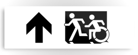 Accessible Exit Sign Project Wheelchair Wheelie Running Man Symbol Means of Egress Icon Disability Emergency Evacuation Fire Safety Metal Printed 119