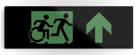 Accessible Exit Sign Project Wheelchair Wheelie Running Man Symbol Means of Egress Icon Disability Emergency Evacuation Fire Safety Metal Printed 12